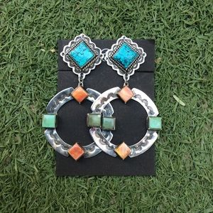 NAVAJO TURQUOISE+SPINY OYSTER SHELL EARRINGS